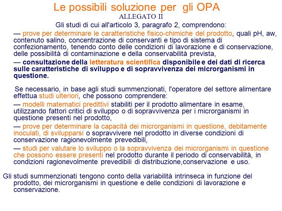 Le possibili soluzione per gli OPA