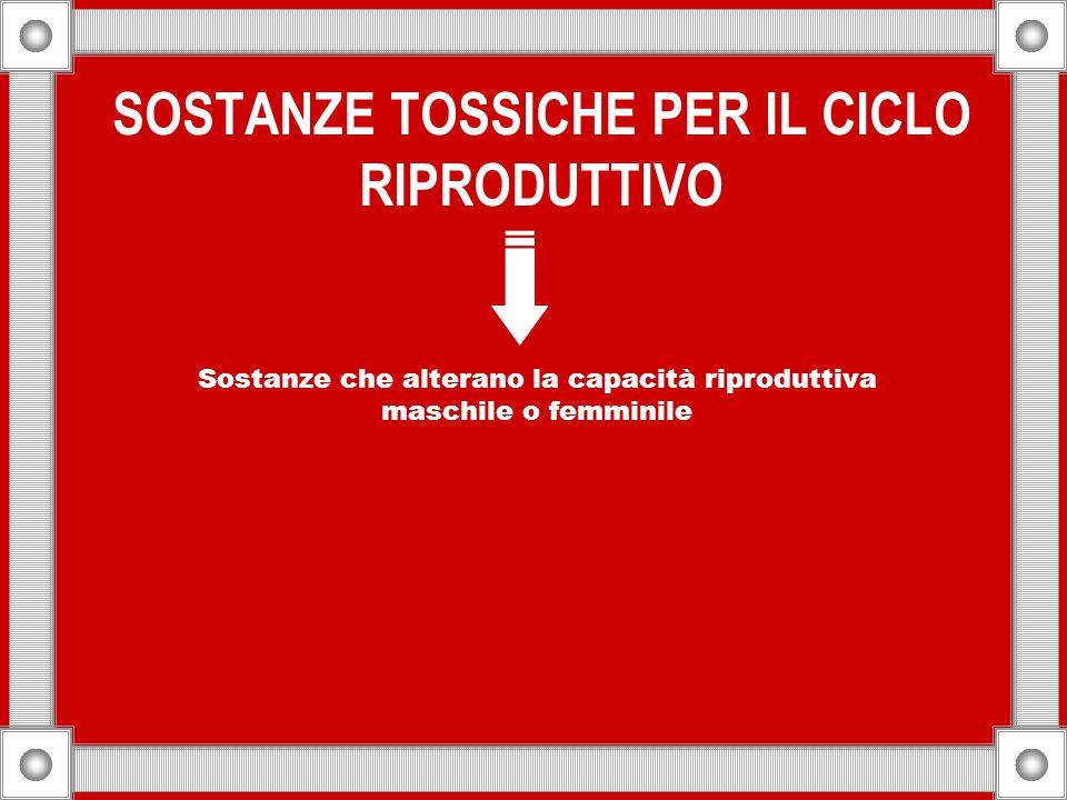 SOSTANZE TOSSICHE PER IL CICLO RIPRODUTTIVO