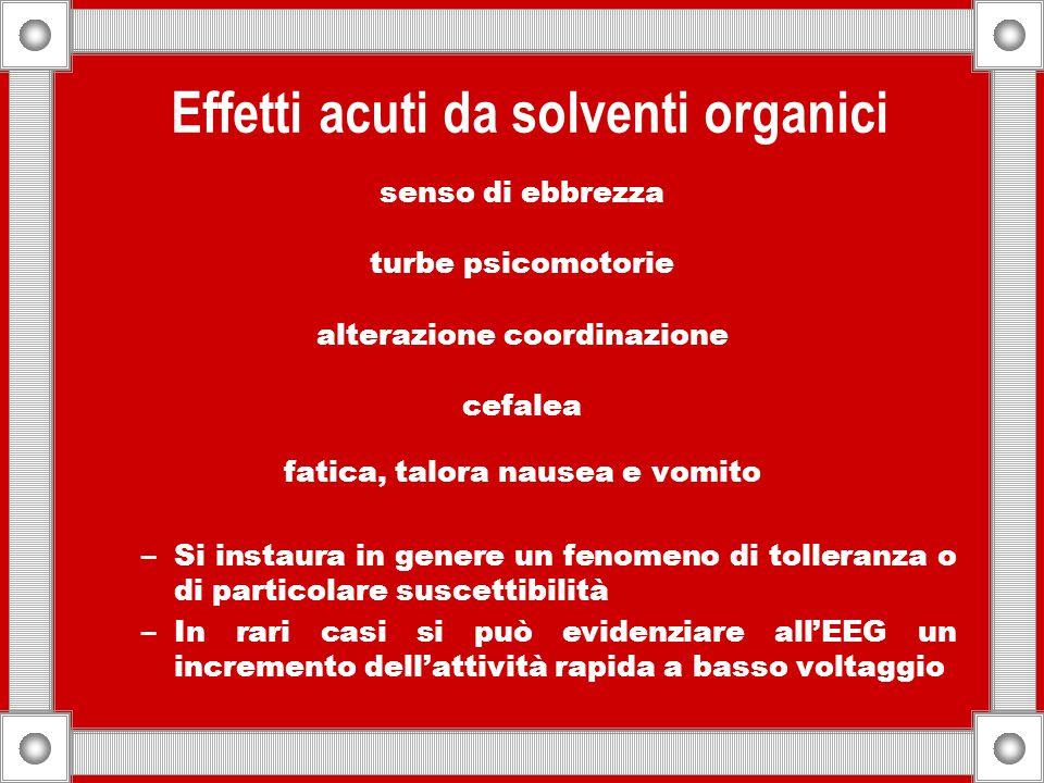Effetti acuti da solventi organici