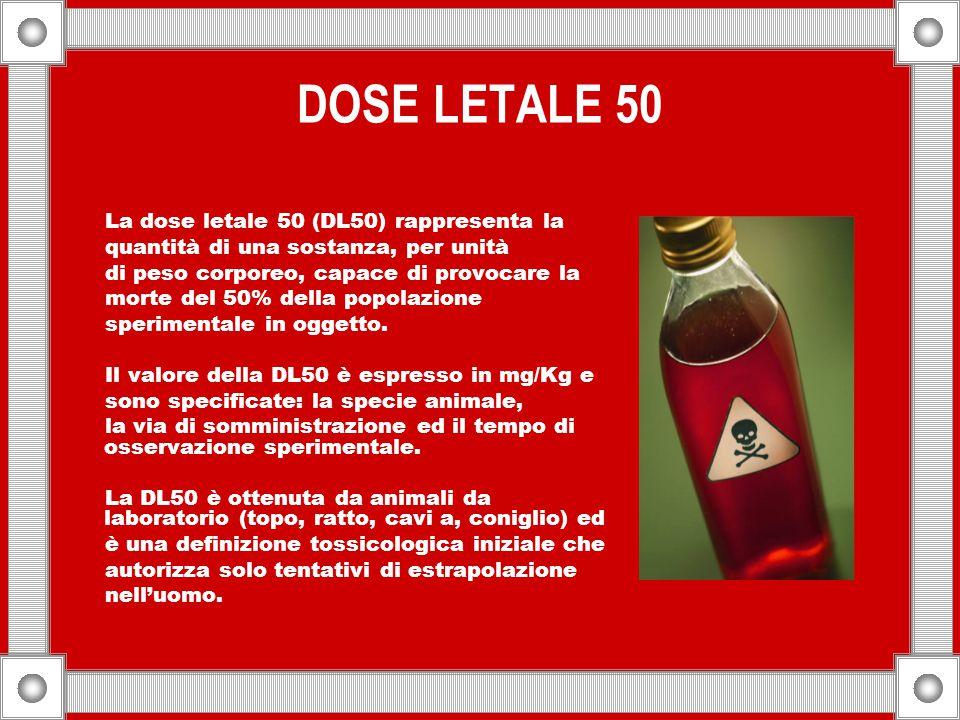DOSE LETALE 50 La dose letale 50 (DL50) rappresenta la