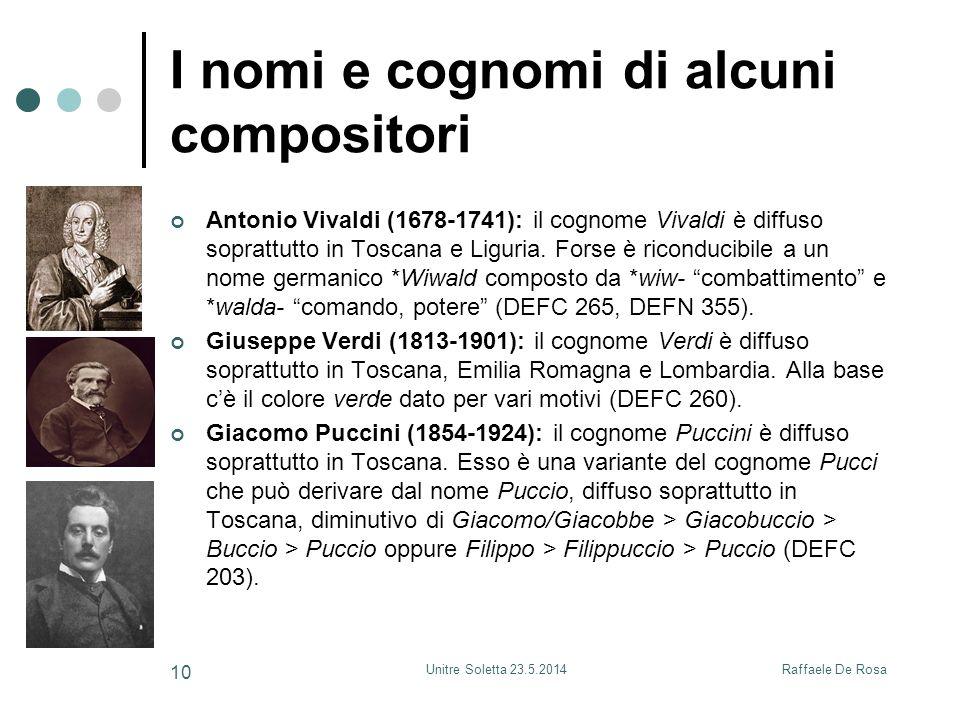 I nomi e cognomi di alcuni compositori