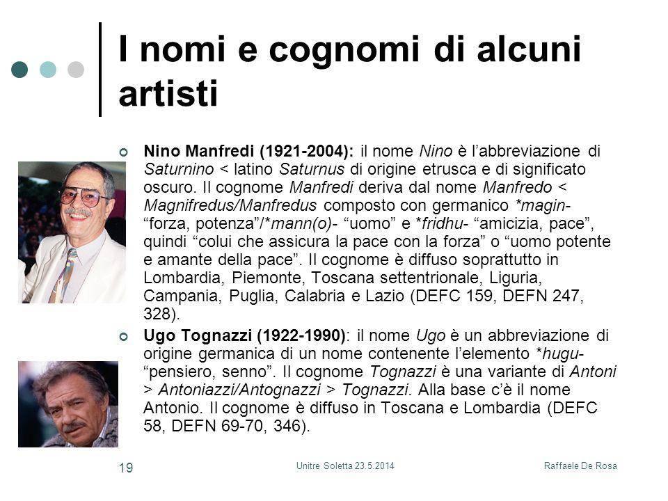 I nomi e cognomi di alcuni artisti