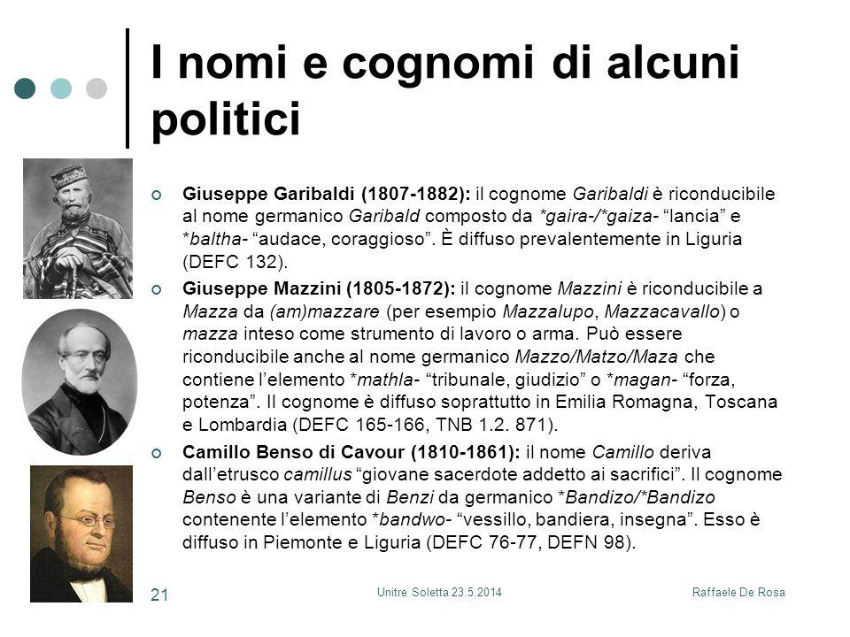 I nomi e cognomi di alcuni politici