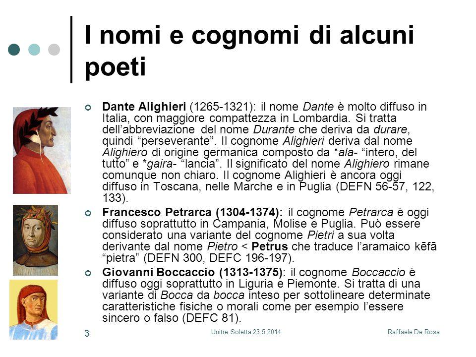 I nomi e cognomi di alcuni poeti