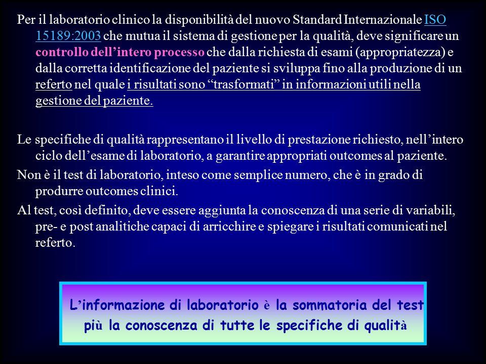 L'informazione di laboratorio è la sommatoria del test
