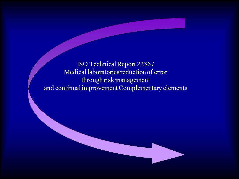 ISO Technical Report 22367 Medical laboratories reduction of error through risk management and continual improvement Complementary elements