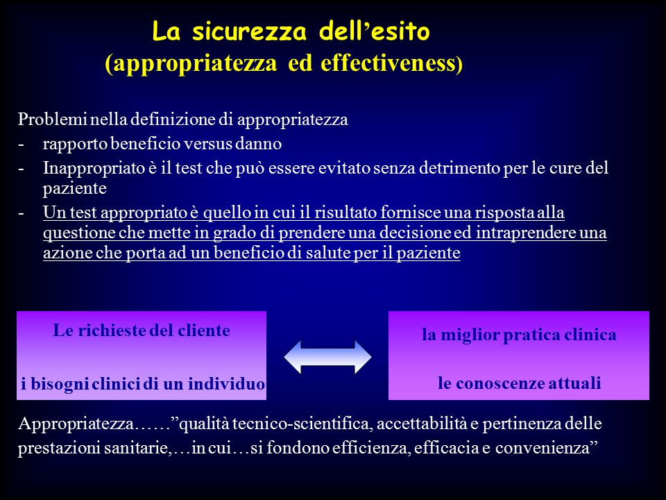La sicurezza dell'esito (appropriatezza ed effectiveness)