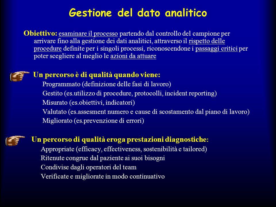 Gestione del dato analitico