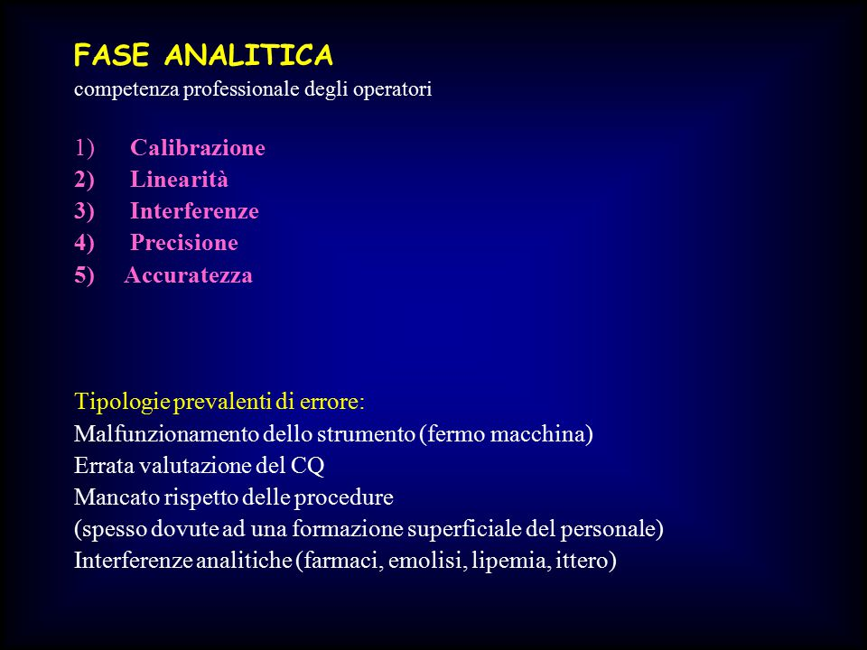 FASE ANALITICA 1) Calibrazione 2) Linearità 3) Interferenze