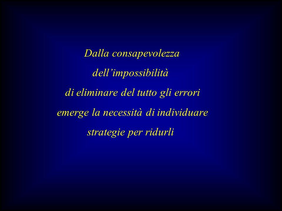 Dalla consapevolezza dell'impossibilità. di eliminare del tutto gli errori. emerge la necessità di individuare.