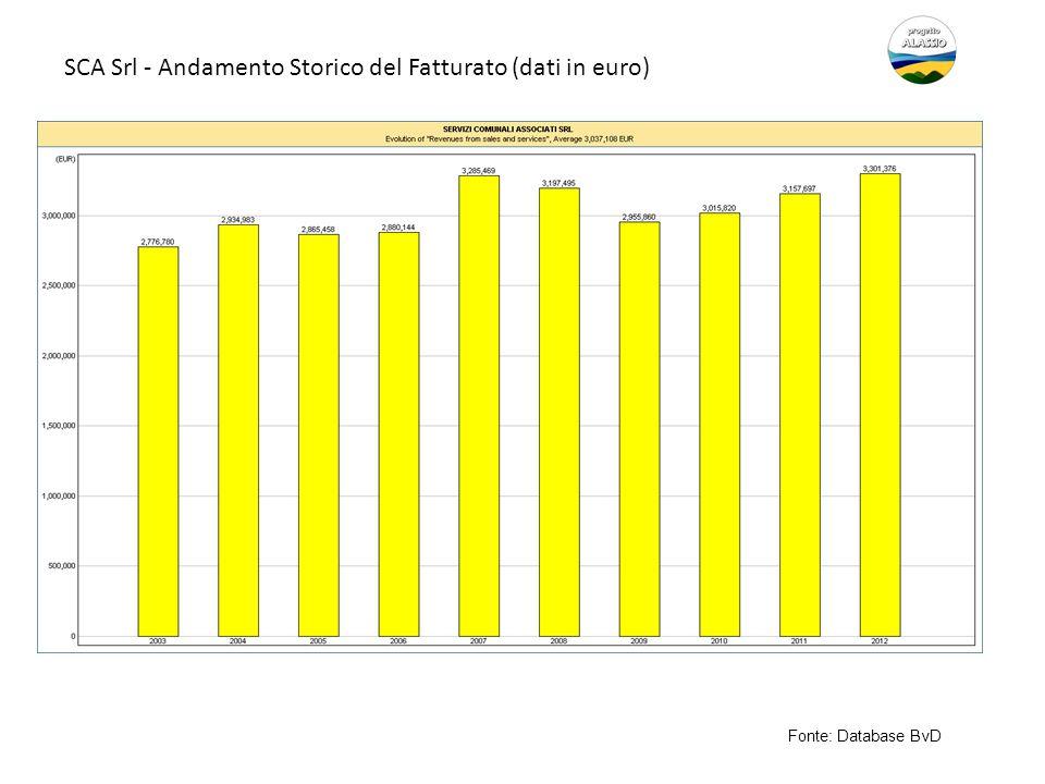 SCA Srl - Andamento Storico del Fatturato (dati in euro)