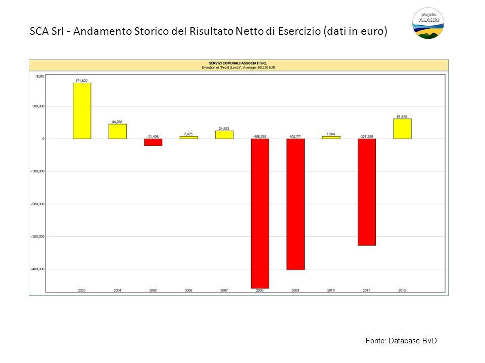 SCA Srl - Andamento Storico del Risultato Netto di Esercizio (dati in euro)