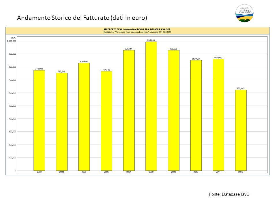 Andamento Storico del Fatturato (dati in euro)