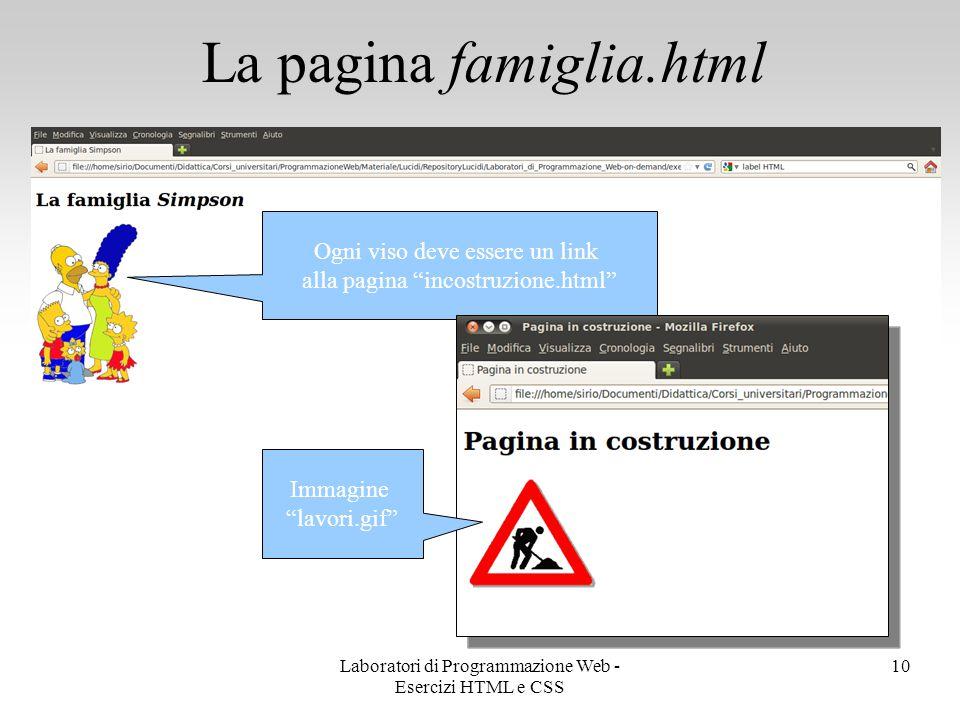 La pagina famiglia.html