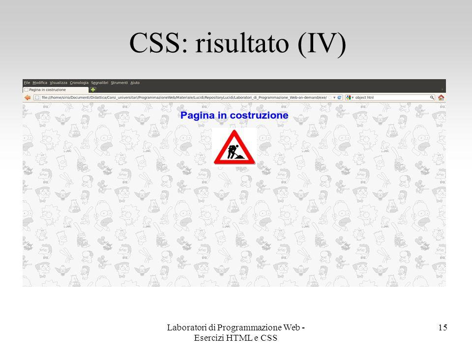 Laboratori di Programmazione Web - Esercizi HTML e CSS