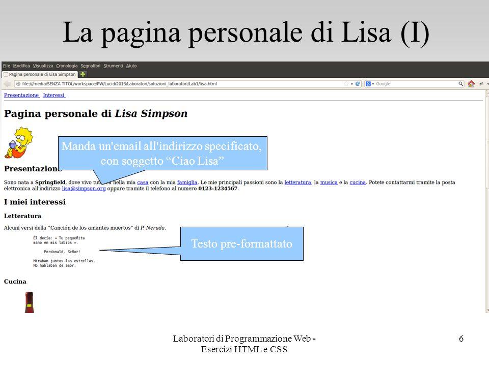 La pagina personale di Lisa (I)