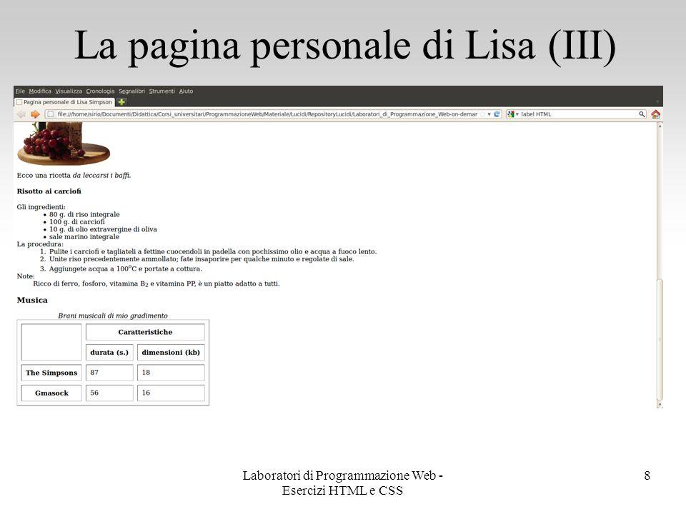 La pagina personale di Lisa (III)