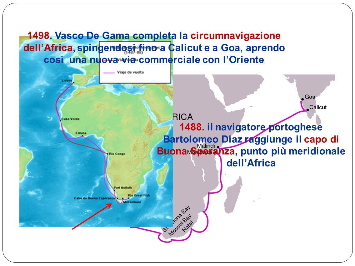 1498. Vasco De Gama completa la circumnavigazione dell'Africa, spingendosi fino a Calicut e a Goa, aprendo così una nuova via commerciale con l'Oriente