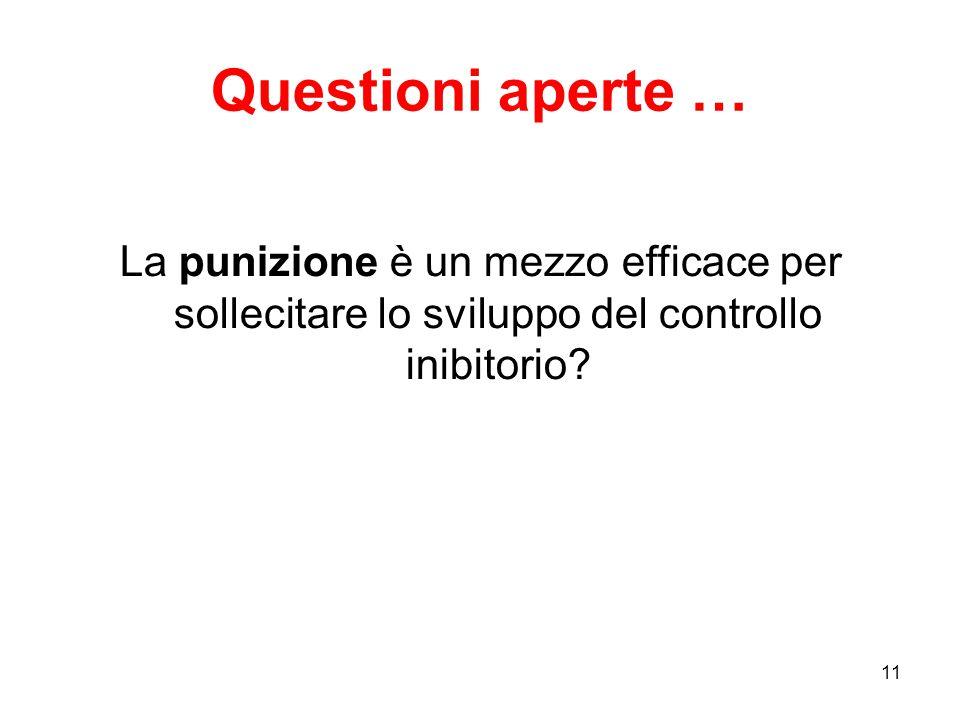 Questioni aperte … La punizione è un mezzo efficace per sollecitare lo sviluppo del controllo inibitorio