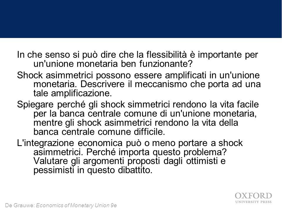 In che senso si può dire che la flessibilità è importante per un unione monetaria ben funzionante