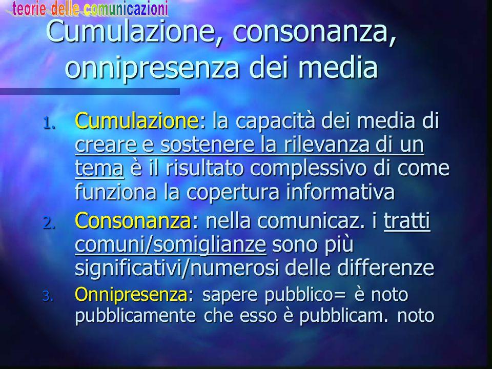 Cumulazione, consonanza, onnipresenza dei media