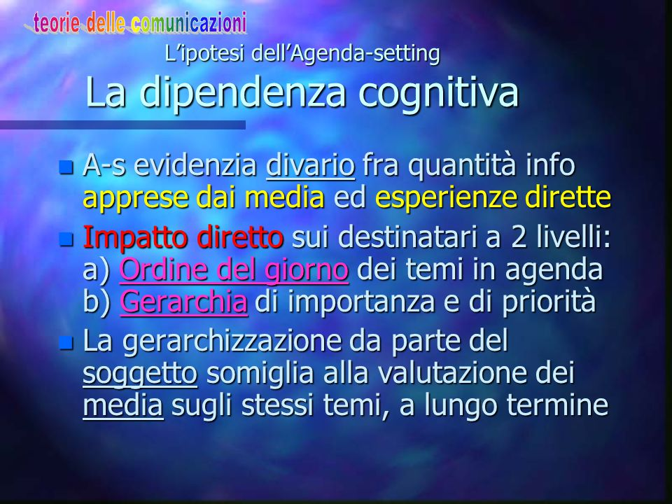 L'ipotesi dell'Agenda-setting La dipendenza cognitiva