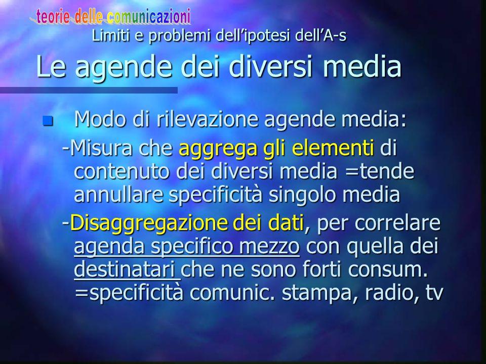 Limiti e problemi dell'ipotesi dell'A-s Le agende dei diversi media