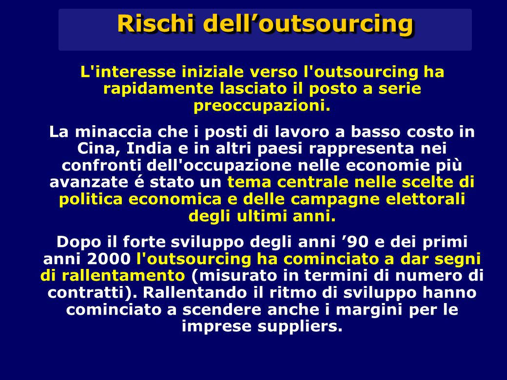 Rischi dell'outsourcing