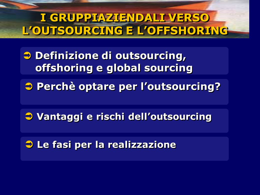 I GRUPPIAZIENDALI VERSO L'OUTSOURCING E L'OFFSHORING