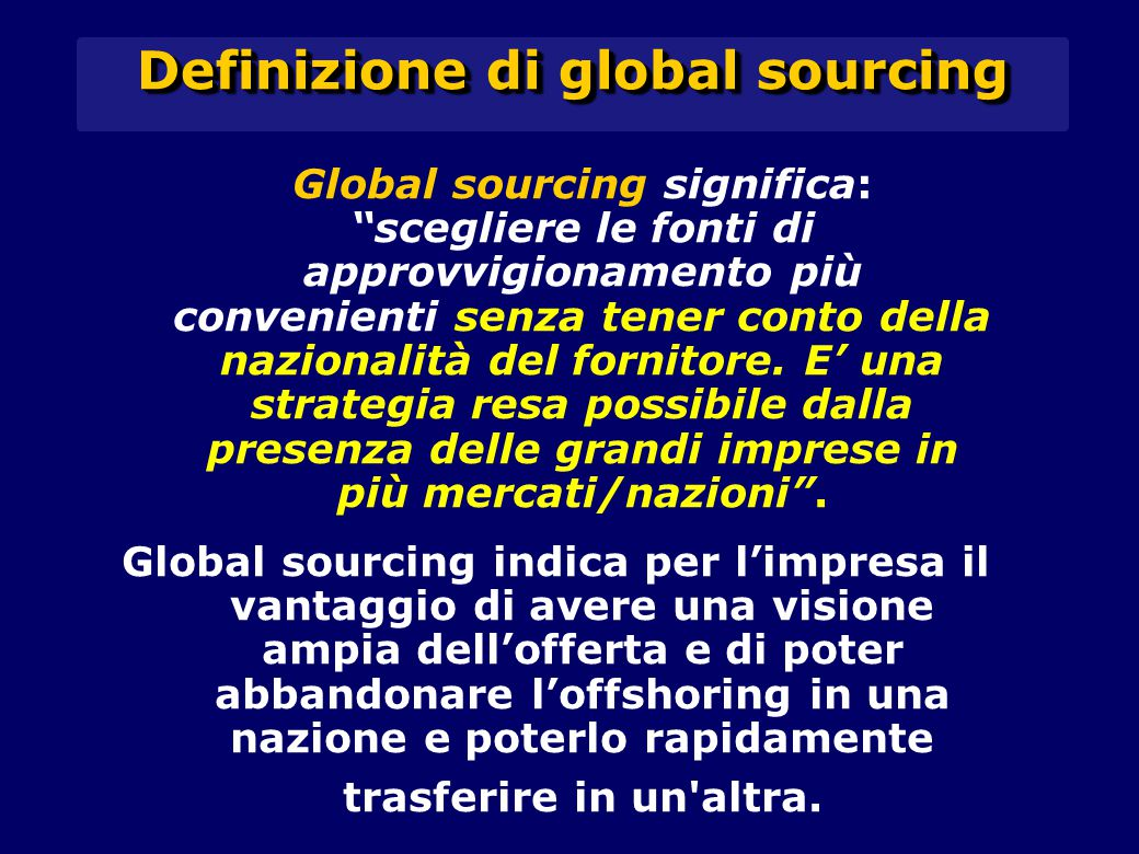 Definizione di global sourcing