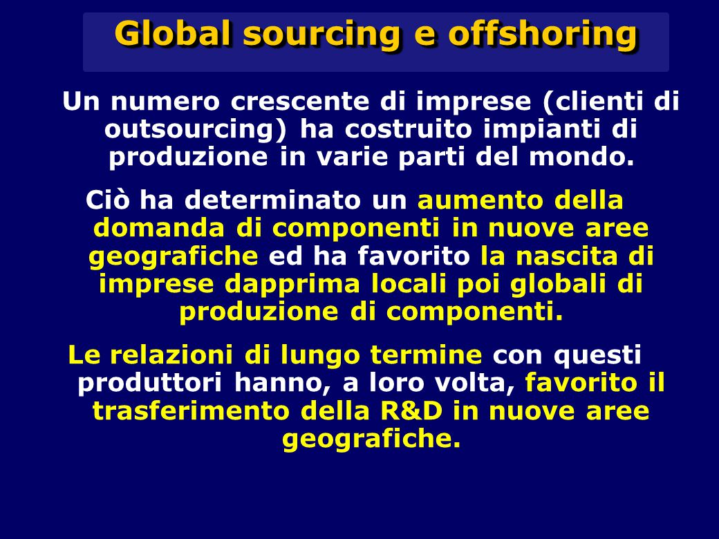 Global sourcing e offshoring