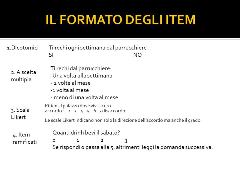 IL FORMATO DEGLI ITEM 1.Dicotomici