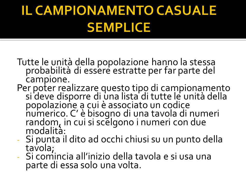 IL CAMPIONAMENTO CASUALE SEMPLICE