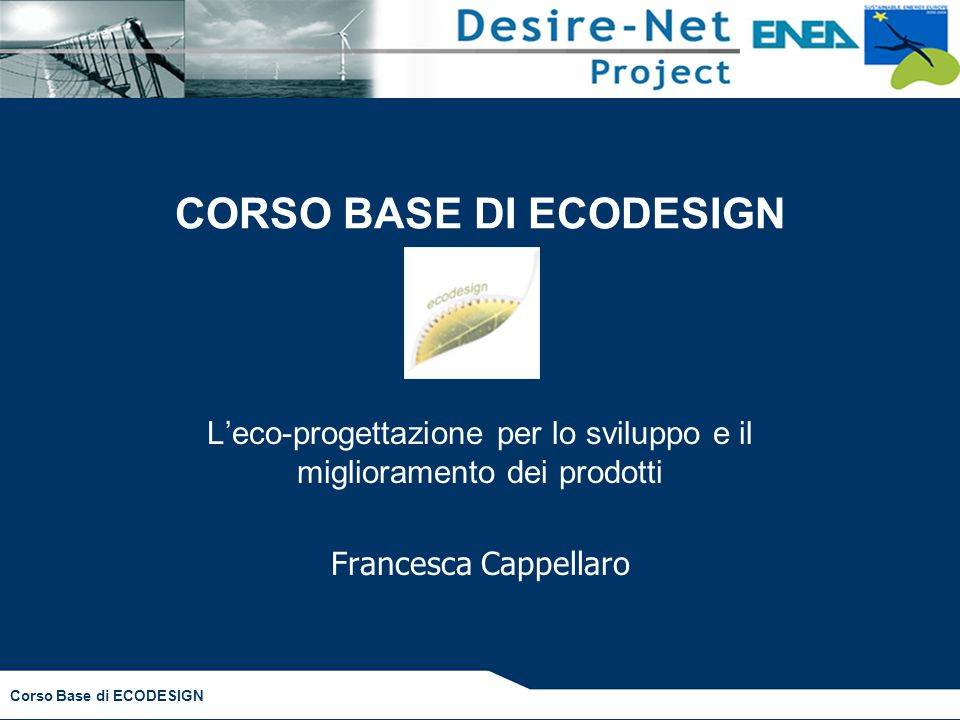 CORSO BASE DI ECODESIGN