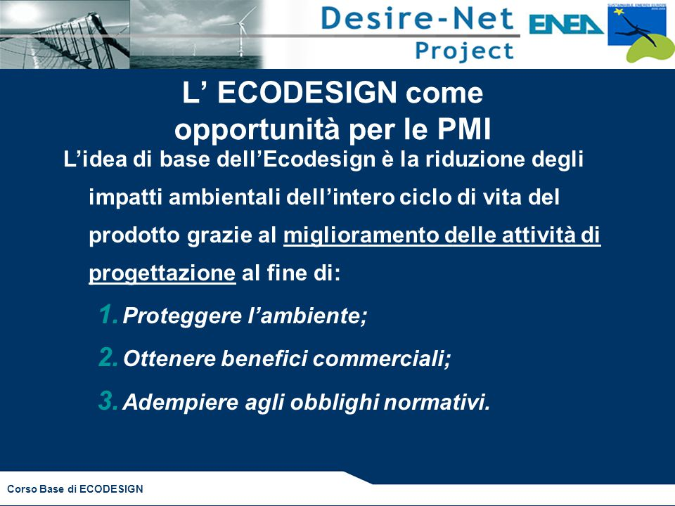 L' ECODESIGN come opportunità per le PMI