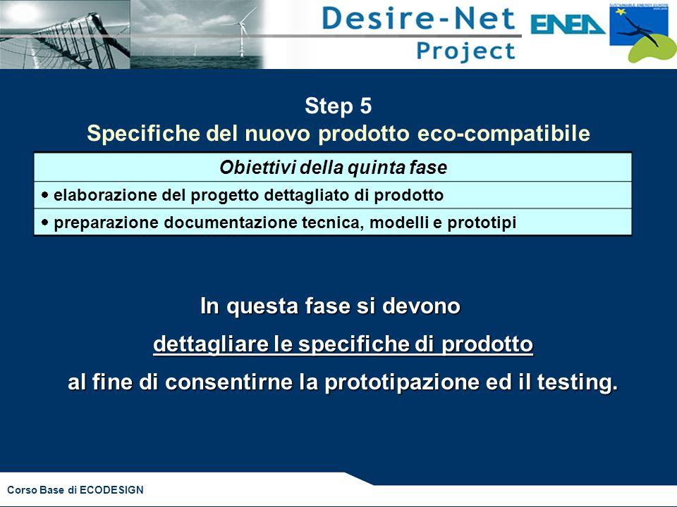 Step 5 Specifiche del nuovo prodotto eco-compatibile