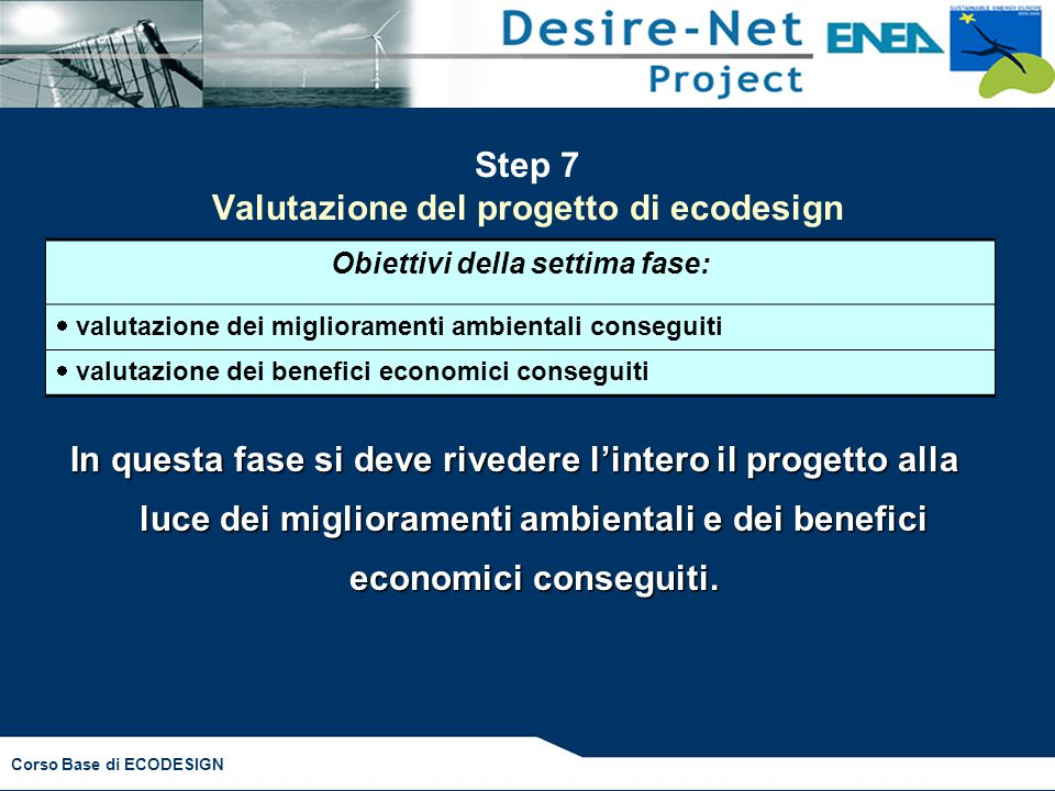 Step 7 Valutazione del progetto di ecodesign