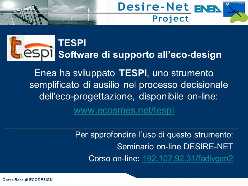 TESPI Software di supporto all'eco-design