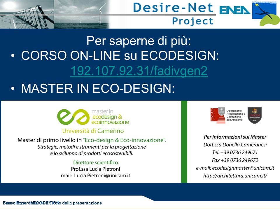 CORSO ON-LINE su ECODESIGN: 192.107.92.31/fadivgen2