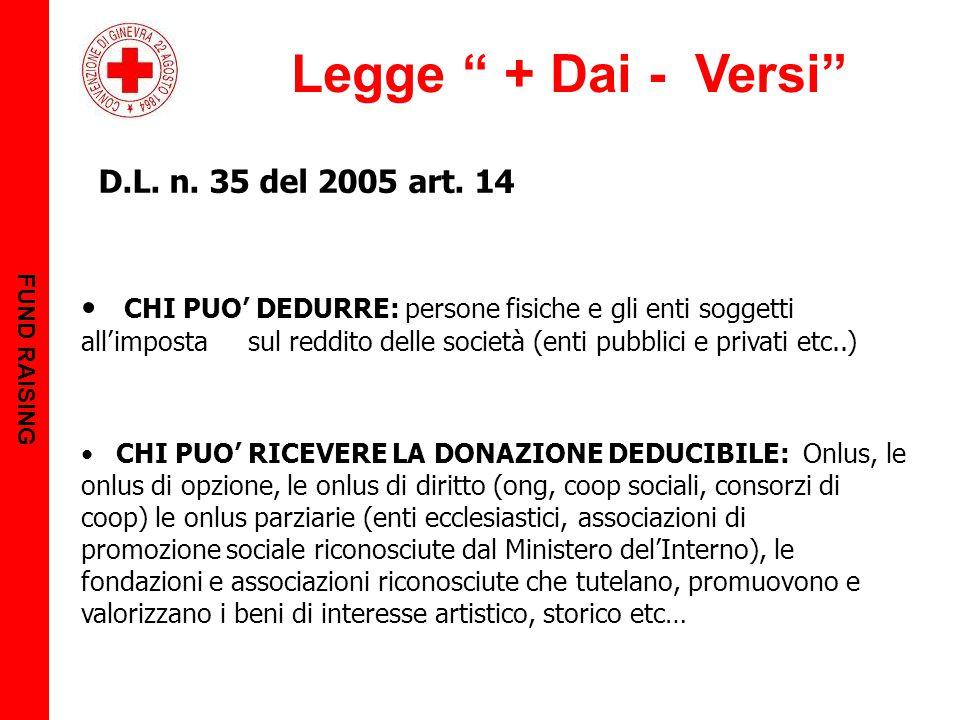 FUND RAISING Legge + Dai - Versi D.L. n. 35 del 2005 art. 14.