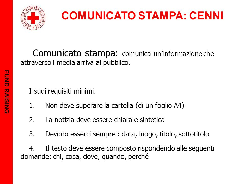 COMUNICATO STAMPA: CENNI