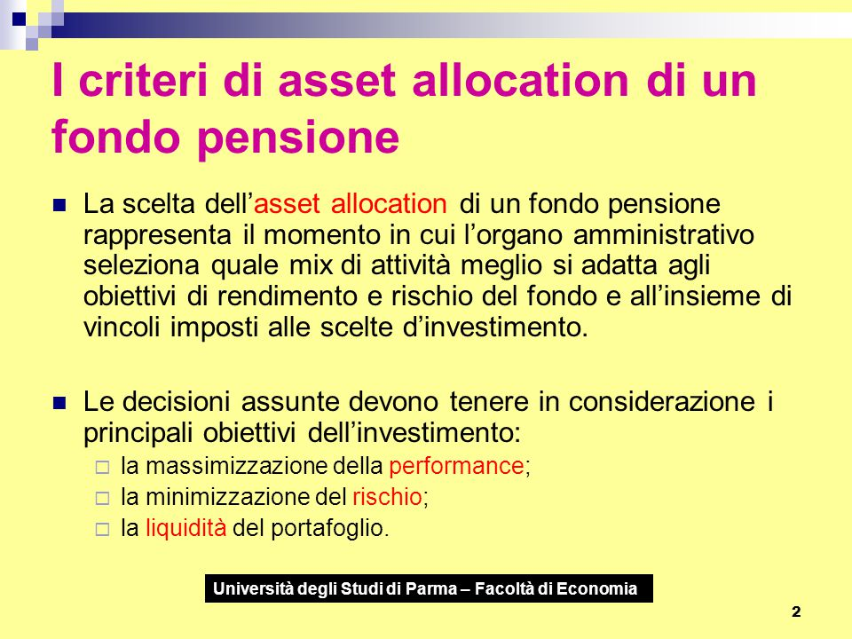 I criteri di asset allocation di un fondo pensione
