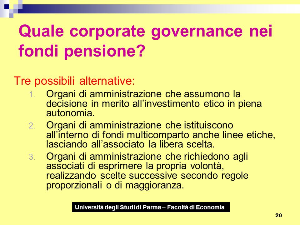 Quale corporate governance nei fondi pensione