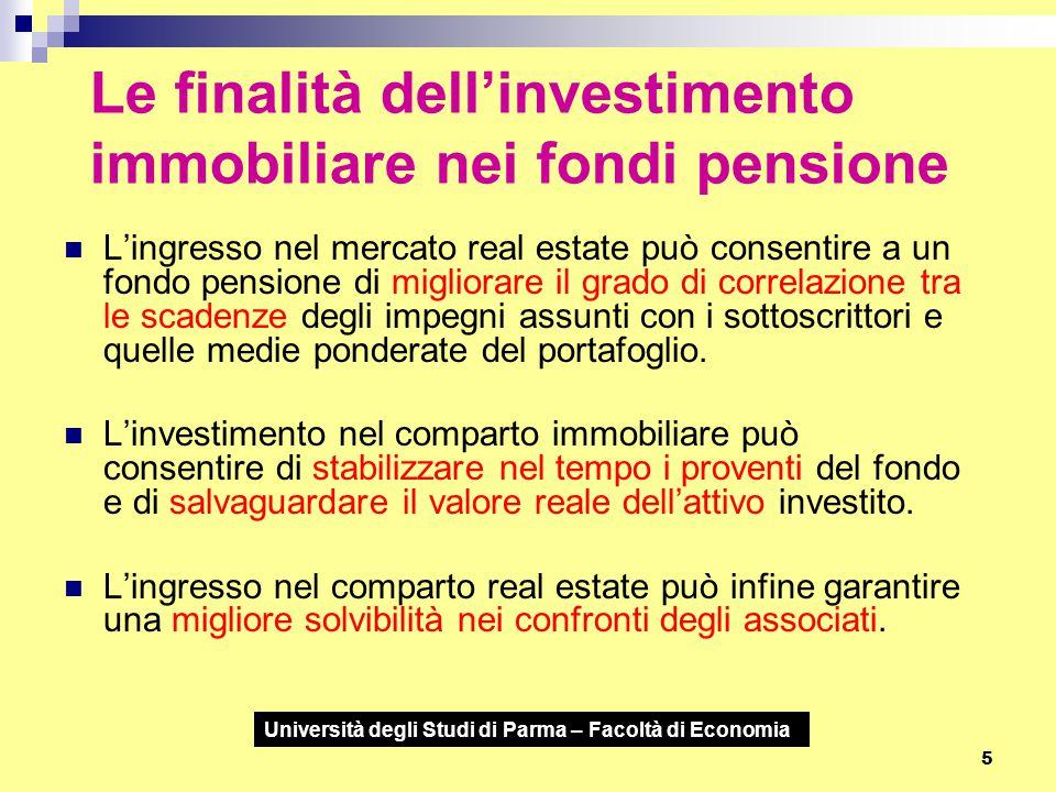 Le finalità dell'investimento immobiliare nei fondi pensione