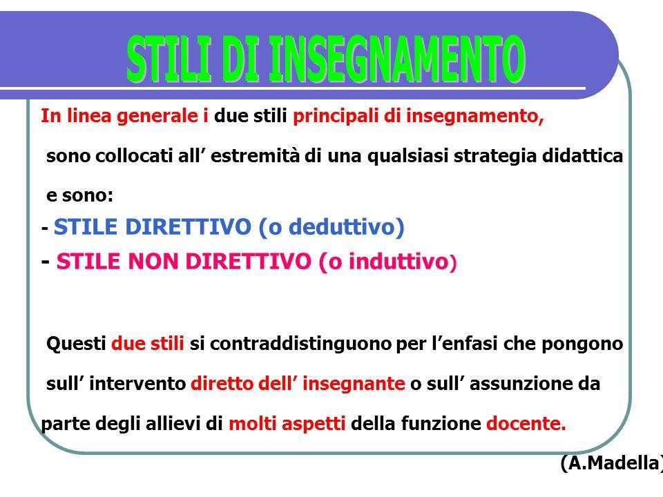 STILI DI INSEGNAMENTO In linea generale i due stili principali di insegnamento, sono collocati all' estremità di una qualsiasi strategia didattica.