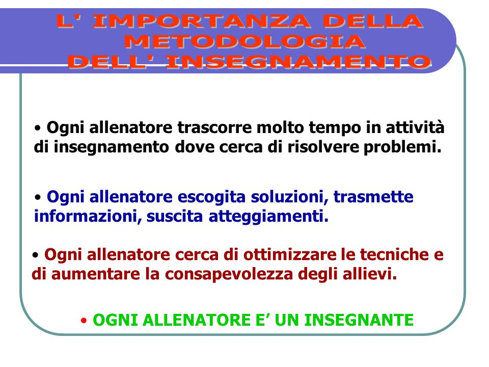 L IMPORTANZA DELLA METODOLOGIA DELL INSEGNAMENTO
