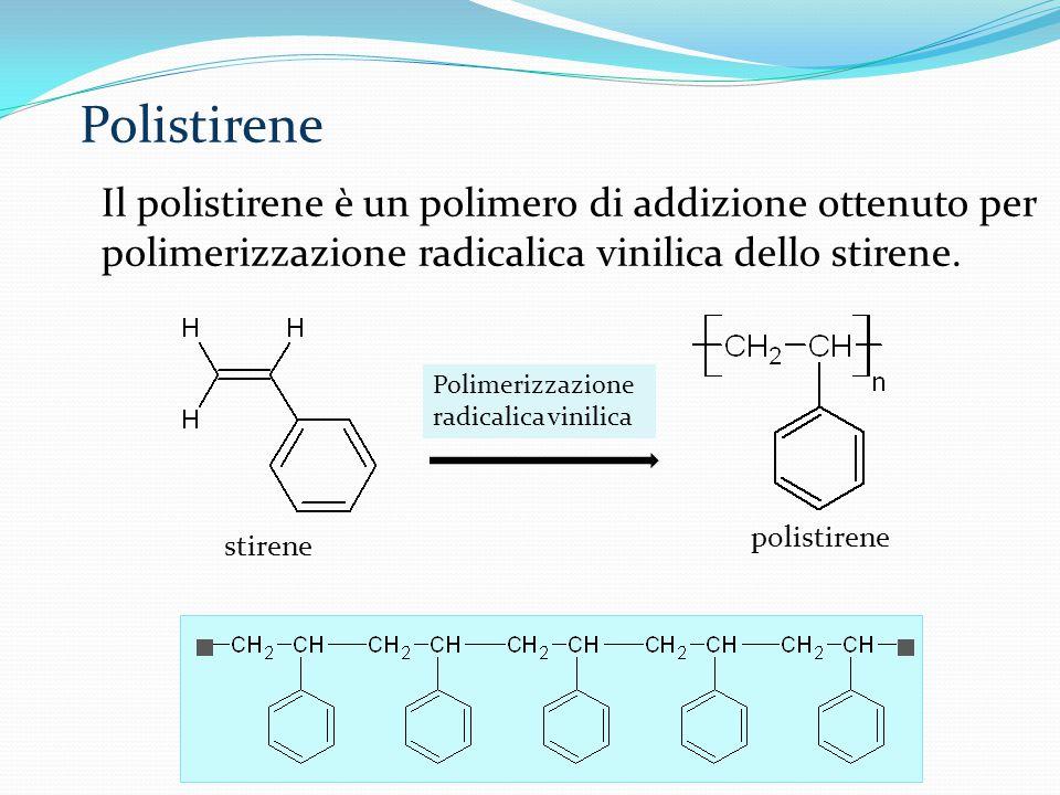 Polistirene Il polistirene è un polimero di addizione ottenuto per polimerizzazione radicalica vinilica dello stirene.