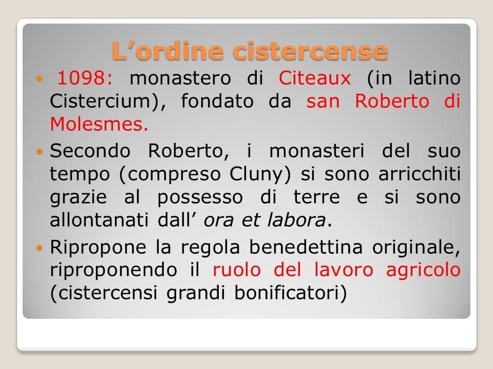 L'ordine cistercense 1098: monastero di Citeaux (in latino Cistercium), fondato da san Roberto di Molesmes.