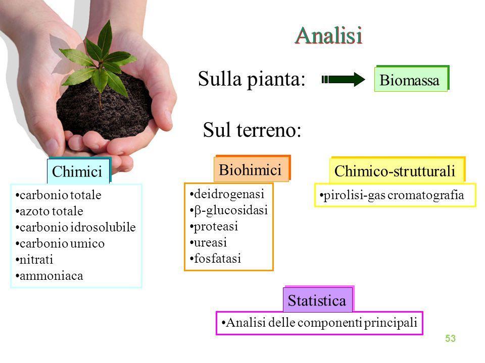 Analisi Sulla pianta: Sul terreno: Biomassa Biohimici Chimici