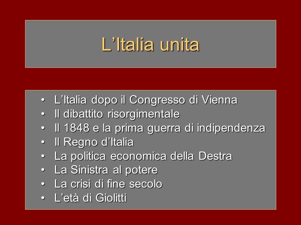 L'Italia unita L'Italia dopo il Congresso di Vienna